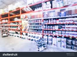 Interior Home Improvement Blurred Large Hardware Store America Defocused Stock Photo