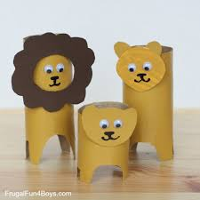 paper roll lions these have glue on eyes but markers would work