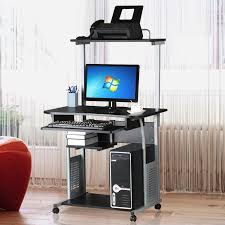 computer and printer table ktaxon rolling computer desk laptop home office study table printer
