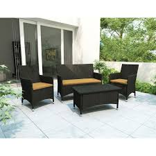 Chair Care Patio by Sonax Cascade 4 Piece Patio Conversation Set Black Patio Sets