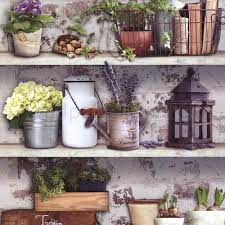 farm country kitchen white brick wall designer feature wallpaper