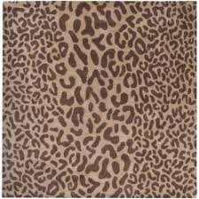 Square Wool Rug Hand Tufted Brown Leopard Whimsy Animal Print Wool Rug 9 U00279 Square