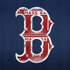 boston sox logo letter b baseball team vintage license plate