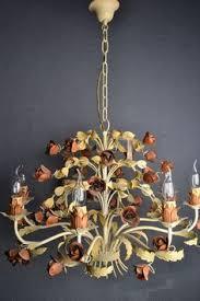 Tole Chandelier Vintage Tole Floral Chandelier Chandeliers Vintage And Lights