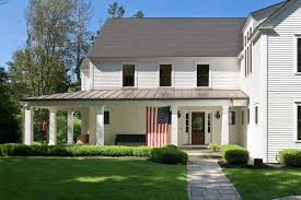 aluminum metal porch roof exterior transitional with landscape