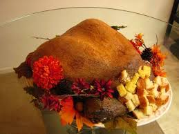 turkey cake made for a thanksgiving pot luck dinner 2 layers