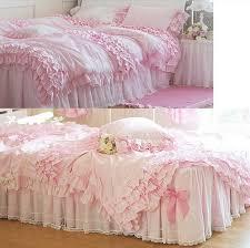 Ruffle Bedding Set Bedding Slanting 100 Stripe Cotton White Pink Princess
