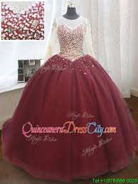 elegant see through scoop brush train quinceanera dress with long