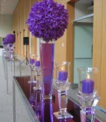 Tall Purple Vase Purple Candles In Clear Candleholders And Purple Orchid Spheres