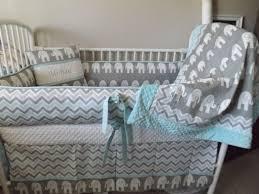 Chevron Boy Crib Bedding Baby Bedding Boy Crib Sets Gray And Aqua Chevron Elephant