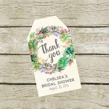 succulent favor tags printable custom bridal shower thank you