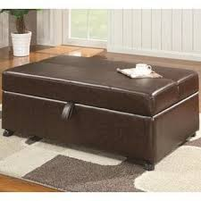 Pull Out Ottoman Brown Faux Leather Pull Out Sleeper Ottoman With