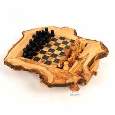 olive wood chess set rustic wooden chess board at beldinest