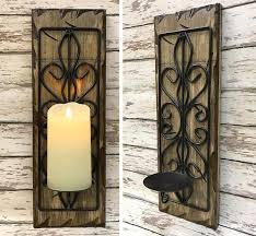 Iron Wall Sconce Candle Holder Wood Metal Wall Sconce Battery Operated