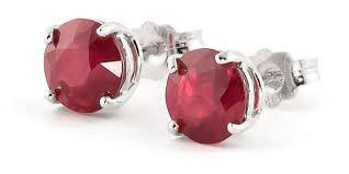 ruby stud earrings ruby stud earrings 3 5ctw in 9ct white gold 3487w qp jewellers