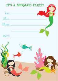 free printable mermaid birthday invitations google search