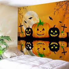 inverted pumpkin halloween wall decor tapestry in bright orange