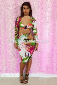 latest colorful print african dresses cut out long sleeve