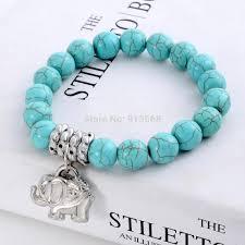 turquoise bead bracelet images Bohemia style turquoise beaded tibetan silver elephant charm jpg