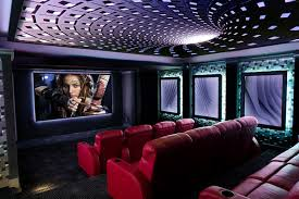 Home Theater Ceiling Lighting Ceiling Lights Add A Splash Of Color In This Home Theater