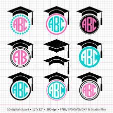 buy graduation cap buy 2 get 1 free digital clipart graduation cap monogram