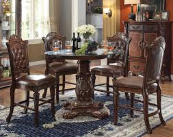 Tall Dining Room Sets Acme Vendome 5pc Round Counter Height Dining Room Set With Beveled
