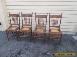 Oak Spindle Back Dining Chairs 56629 Set 4 Antique Solid Oak Dining Room Chair S Chairs For Sale
