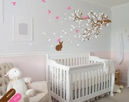 rabbit nursery brunch tree wall decal rabbit sticker vinyl nursery mural decor