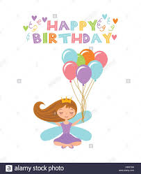 happy birthday card with cute fairy with balloons icon over