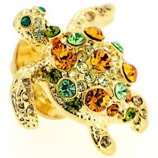 golden multicolored sea turtle crystal lapel pin fantasyard