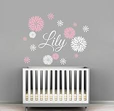 Amazoncom  Custom Flowers Name Wall Decal Girls Kids Room - Kids rooms decals
