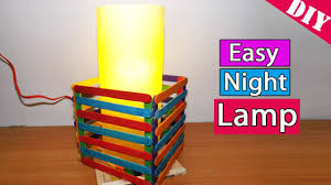 how to make an easy night lamp using ice cream popsicle sticks