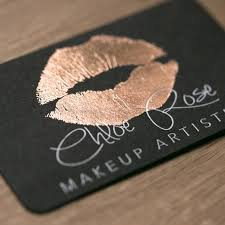 makeup artists business cards gold white foil on black business card design by