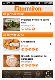 application cuisine application iphone marmiton historique de consultation de ses