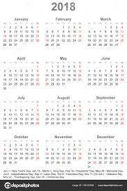 Kalendář 2018 Svátky Jednoduchý Kalendář 2018 S Svátky V Usa Stock Vektor Mkabeck