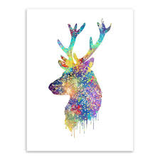 triptych watercolor deer head a4 poster print abstract animal