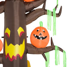 halloween inflatable ghost homcom halloween inflatable decoration ghost tree 2 4m 6 led