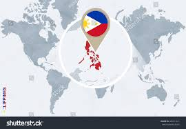 Philippines Map World by Abstract Blue World Map Magnified Philippines Stock Vector