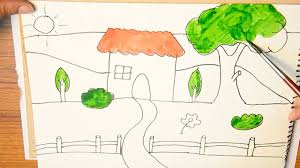 Paint A House by How To Draw And Paint A House With Garden In Front Of It And River