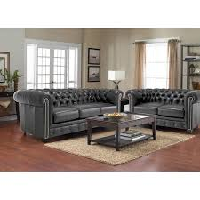 Grey Leather Tufted Sofa Decor Rest Furniture Sofas 3230 Sofa Stationary From Goettlers