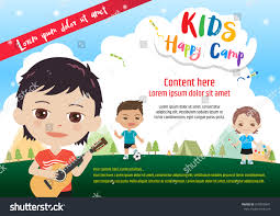 children activities colorful kids summer camp poster banner stock vector 579819841