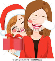 vectors illustration of mother daughter christmas gift giving