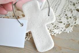 wholesale bulk baptism favors set of 10 salt dough cross ornaments