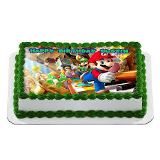 mario cake topper mario bros nintendo quarter sheet edible photo birthday cake