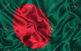 Bangladesi Flag Waving Colorful Bangladesh Flag On A Silk Background Stock Photo