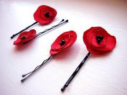 handmade hair petals poppy set of 2 handmade hair flower by mgmart on zibbet