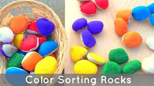 color sorting rocks preschol and kindergarten learning activity