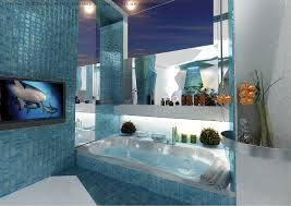 blue mosaic bathroom tiles interior design ideas