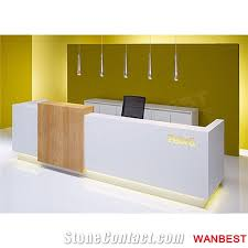 Illuminated Reception Desk Luxury Acrylic Artificial Marble Wooden Illuminated Led