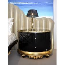 Gold Bedside Table High Gloss Black And Gold Carved Bedside Table With Swarovski Handles